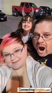 My Daughters and I in line at a Halloween Haunted House 2016