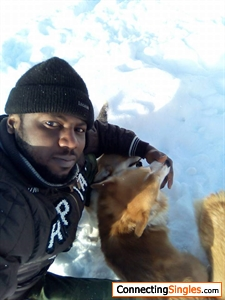 In the snow with ma dogs