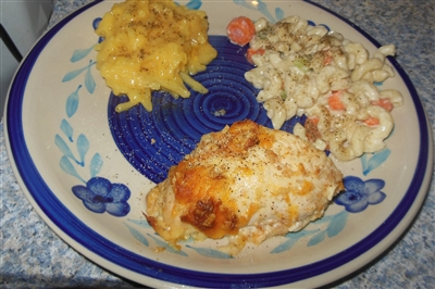 Baked Chicken Breast w/Toasted Bread Crumbs and Shredded Cheese