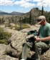 Lunch. Volunteering walking fence line boundry of national forest in Laramie mountains Wyoming.