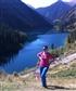 at the mountain lake in Kazakhstan