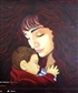 Sarah and baby, a portrait in acrylic of my stepdaughter, it was a lot of work but worth it.