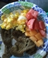 This was breakfast scrambled eggs steak watermelon and cantaloupe